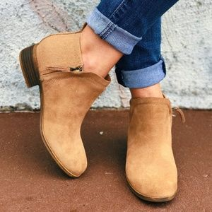 NWT TOMS Toffee Suede Deia Zip Bootie Ankle Boot